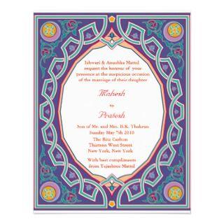 Hindu Muslim Indian Wedding or Mehndi Invitation