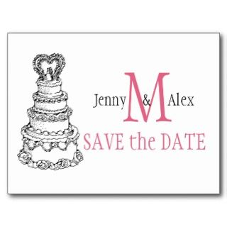 Honeysuckle Pink Save the Date Cards Wedding Cake Post Cards