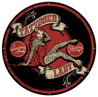 Tattooed Lady Metal Sign Wall sign