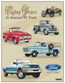 Ford Pickup Trucks 80 Year 1917 1997 Tribute Tin Sign