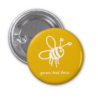 Honey Bee yellow Pinback Button