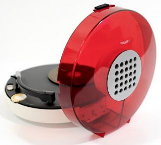 1970s VINTAGE RED PHILIPS 303 UFO PORTABLE RECORD PLAYER TURNTABLE