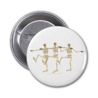 Funny Dancing Skeletons Halloween Cartoon Pin