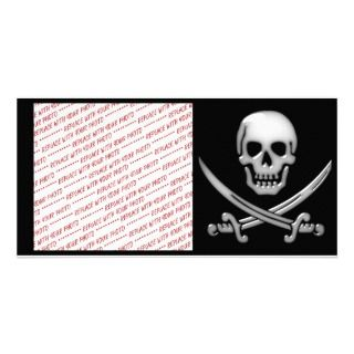 Pirate Skull & Sword Crossbones Photo Card Template