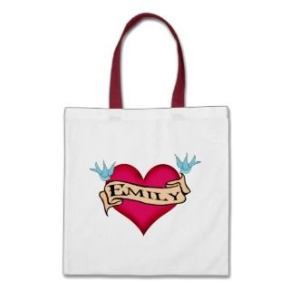 Emily   Custom Heart Tattoo T shirts & Gifts Canvas Bag