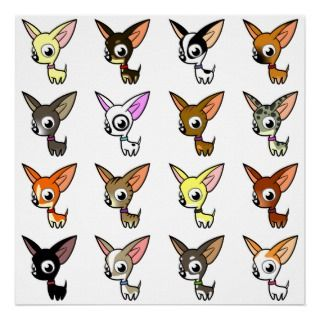 Cute Cartoon Chihuahuas Posters