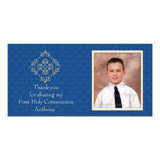Tarjeta cristiana de la foto del damasco del azul tarjetas