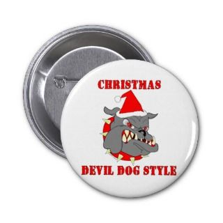 Marine Corps Christmas Devil Dog Style Pinback Button