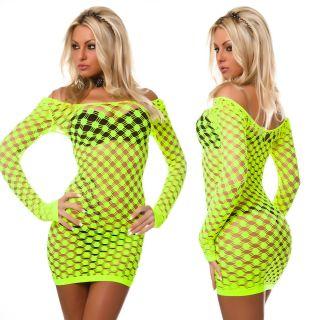 Netzkleid Netzshirt Longshirt Netz Shirt Kleid Gogo Table Dance neon