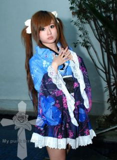 Japan Visual Kei Gothic Lolita GEISHA Fantasy Blue Sakura Floral