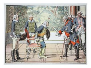 Frederick the Great and the 85 Year Old Zieten, 1784 (Colour Litho) Giclee Print by Carl Rochling