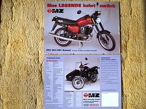 MZ ETZ 251 301 Kanuni Reklame Werbung Poster Datenblatt Original