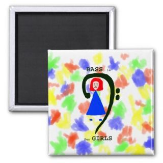 Red female blue dress green bass clef n text refrigerator magnet
