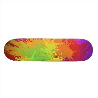 Colourful Bright Ink Splat Design Vector Skate Boards
