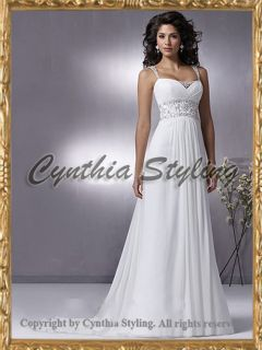 Beaded empire beach wedding bridal dress UK 6 20 MtM