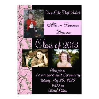 Pink Camo graduation announcement