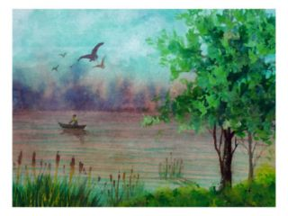Person in Small Boa on River, Birds Soar Giclee Prin by Rich LaPenna