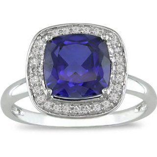 10k Gold 1/10ct TDW Diamant/ Geschaffener Blauer Saphir Ring (I J, I2