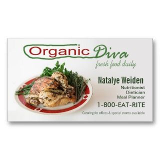 Organic Diva Nutritionist Food Stylist Caterer Business Card Templates