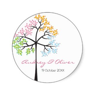 Four Seasons Tree Custom Party Gift Label Sticker