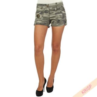 Army Military Camouflage Summer Cargo Hot Pants Shorts Denim Turn Up