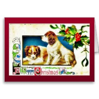 Christmas greeting two dogs greeting card