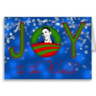 Blue Joy to the World Obama Christmas Card