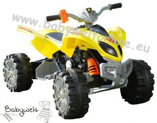 12V Kinder Elektro Auto Quad Raptor Style 60W gelb mit stärkerem