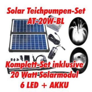 20 Watt Solar Springbrunnen Teich Pumpe LED AKKU Garten Solarpumpe
