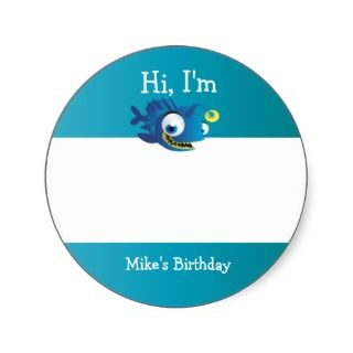 Under the Sea Birthday Party Favors Round Stickers