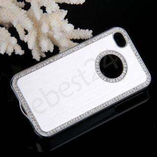 Silber Strass Metall Hülle Gehäuse Tasche Case für Apple iPhone 4