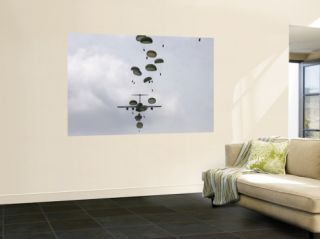 August 21, Army Soldiers Jump out of a C 17 Globemaster III Wall Mural