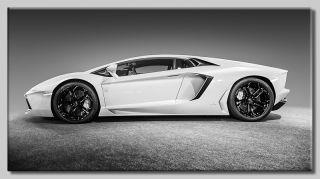 Leinwand Bild Lamborghini Aventador Sportwagen Schwarzweiß Kult