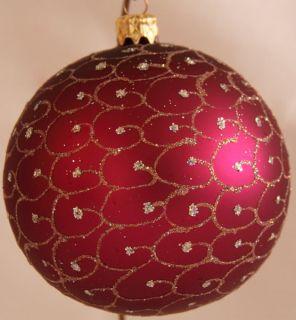 Pinke Weihnachtskugeln ∅ 10cm 4er Set pinke/gold, innen