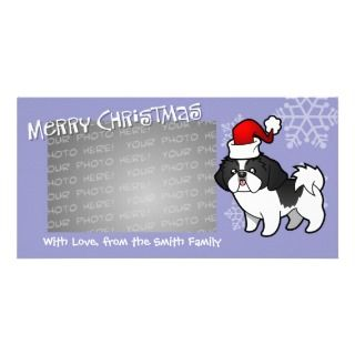 Christmas Shih Tzu (black parti puppy cut) Picture Card