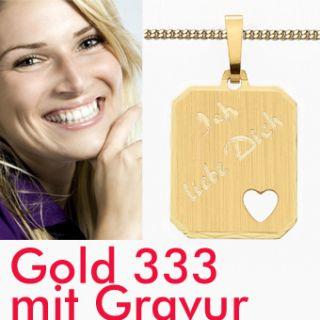 Partner ANHÄNGER GOLD 333   Ich liebe Dich mit HERZ + NAMEN GRAVUR