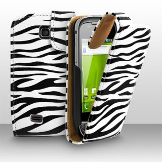 Zebra Stil Lederklappetui Für Samsung Galaxy Mini S5570 + Film