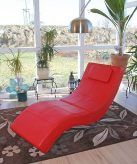 Relaxliege Recamiere Chaiselongue Livorno, Kunstleder, braun, rot