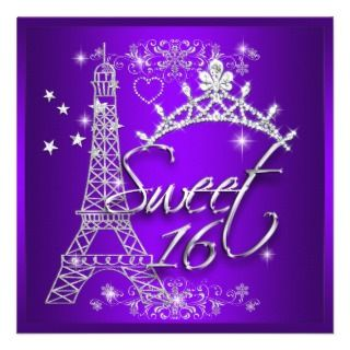 Purple Sweet 16 Sweet Sixteen Eiffel Tower Custom Invitations