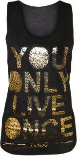 Damen Shirt Yolo Neonfarbe Goldblatt Aufdruck Muskelshirt You Only
