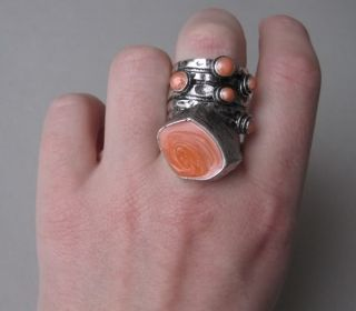 Celebrity Style Chunky Blogger Cocktail Ring arty coral orange 18mm Gr