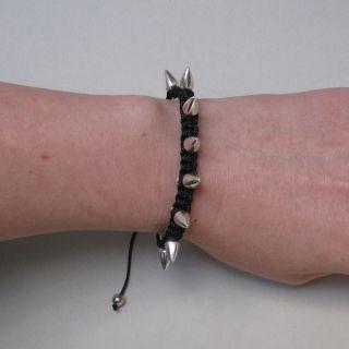 Spike Nieten Blogger Makramee Armband silber schwarz shamballa