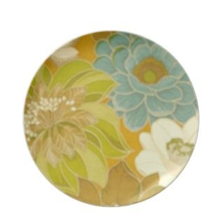 Vintage Floral Wallpaper, Turquoise Green & Brown Party Plates