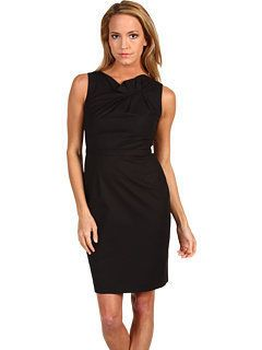 348 Elie Tahari Black Wool Origami Pleat Lori Sheath Dress 10 NEW