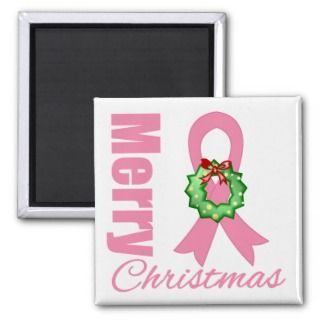 Breast Cancer Awareness Merry Christmas Ribbon Fridge Magnets