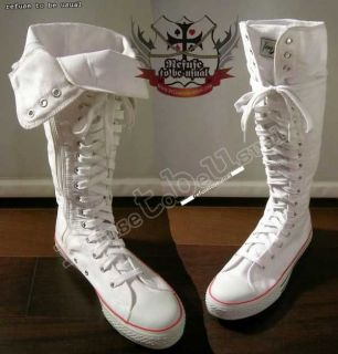 134 shoe lace KNEE HIGH ALL STAR CONVERSE BOOTS WHITE