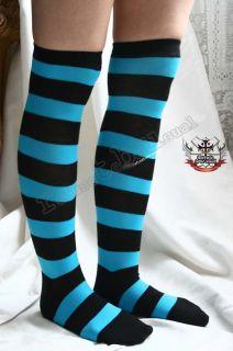 Punk Turquoise Aqua Blue WIDE Stripe Over Knee Stocking