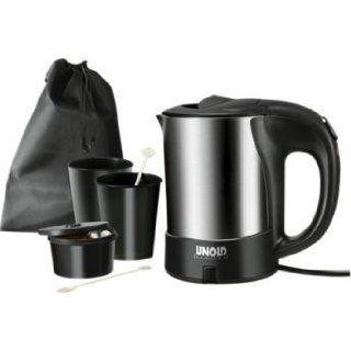 Reise Wasserkocher Edelstahl mit 2 Tassen und 2 Löffel sowie