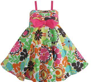 Girls Dress Multi Color Bow Tie Flower Print Summer Kids Sundress SZ 3
