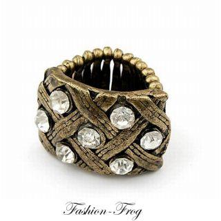 Fingerring Ring Strass gold vintage geflochten eckig dehnbar